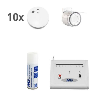 Wireless smoke detector set with indoor cable siren Fire alarm system 10