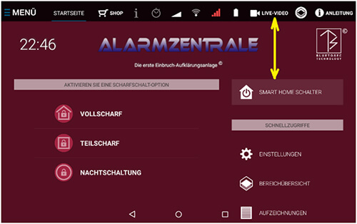 Alarmtab Zentrale Live Video