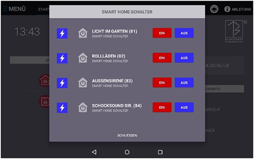 Alarmtab Smart-Home Menü