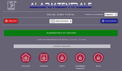 Online-Portal Alarmtab Demozentrale