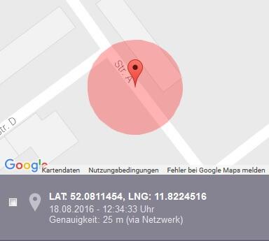 Alarmtab Portal GPS-Position