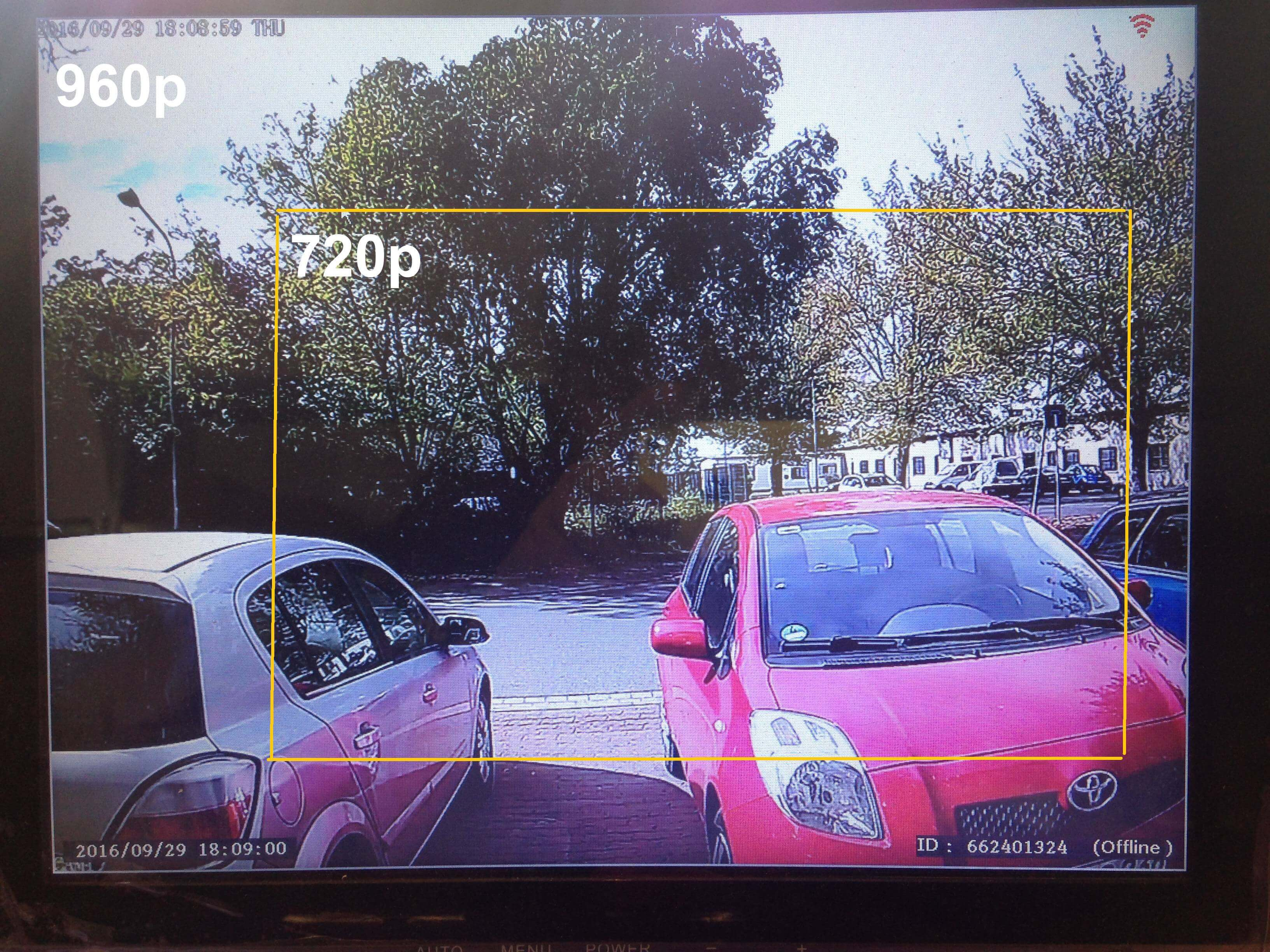 compare 720p to 960p resolution of camera