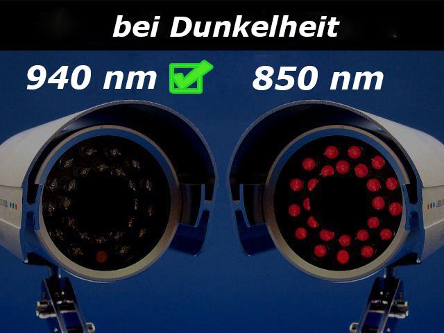 Unterschied 850 nm und 940 nm Infrarotlicht